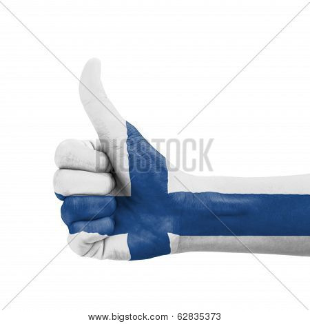 Hand With Thumb Up, Finland Flag Painted As Symbol Of Excellence, Achievement, Good - Isolated On Wh