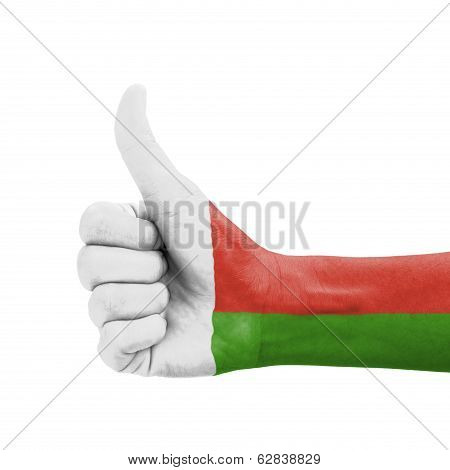 Hand With Thumb Up, Madagascar Flag Painted As Symbol Of Excellence, Achievement, Good - Isolated On