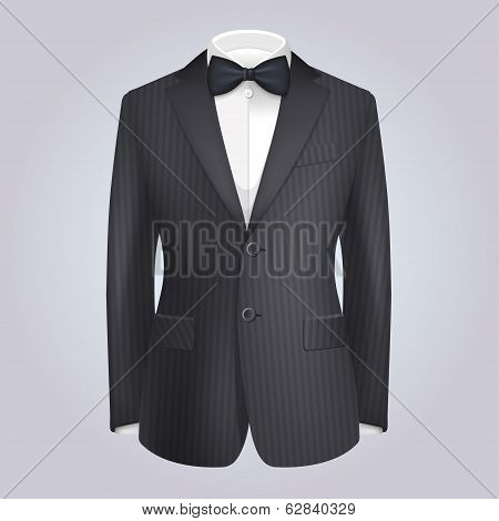 Male Clothing Dark Suit with Bow Tie. Vector