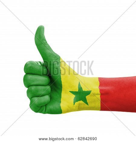 Hand With Thumb Up, Senegal Flag Painted As Symbol Of Excellence, Achievement, Good - Isolated On Wh