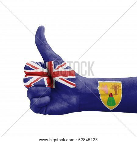Hand With Thumb Up, Turks And Caicos Islands Flag Painted As Symbol Of Excellence, Achievement, Good