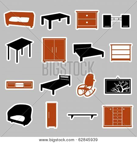 furniture stickers eps10