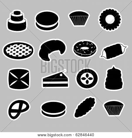 sweet desserts black stickers eps10