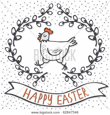 White hen in willow wreath Happy Easter card