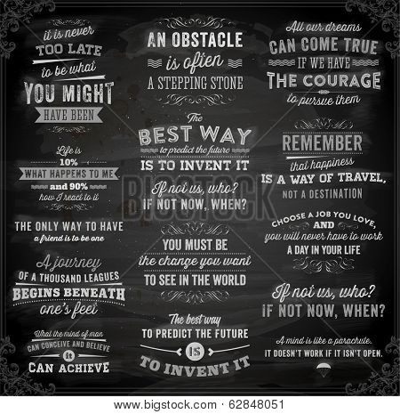 Set of Quotes Typographical Posters, Vector Design. Motivational Quotes for Inspirational Art. Chalk poster