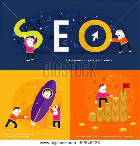 Set of icons. Flat Design. Mobile Phones, Tablet PC, Web and Apps vector icons. Marketing and Time Management Services Illustrations. SEO. Responsive internet advertising and pay templates.