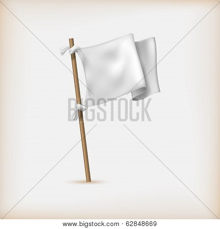 Realistic White Flag Icon. Surrender Concept. Banner Template