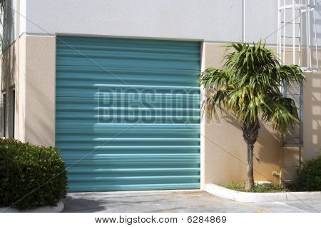 Green Warehouse Door