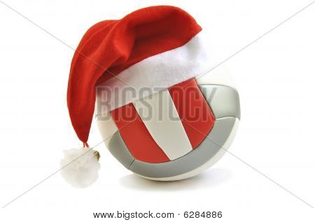 Volleyball With Santa Hat.