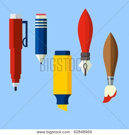 Paint and writing tools flat illustration
