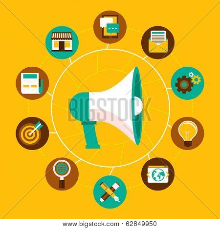 Internet Marketing Concept In Flat Style