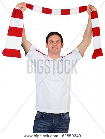 Cheering football fan in white on white background