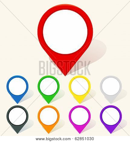 Colorful map pin icon in flat style