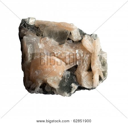 Calcite And Quartz On White Background
