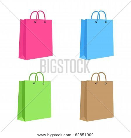Blank Paper Shopping Bag With Rope Handles. Set