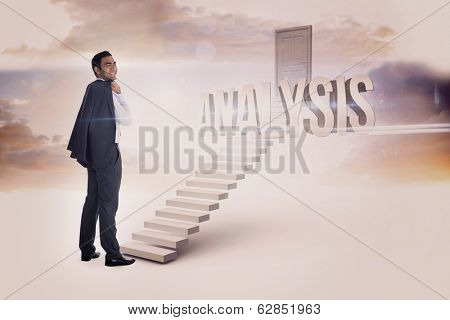 The word analysis and smiling businessman standing against white steps leading to closed door