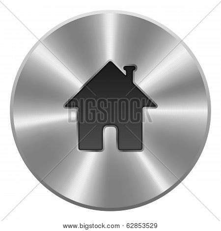 Home Button, Icon. Metal, Round. Isolated On White Background. V