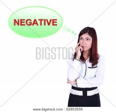 Business Woman Thinking About Negative Thinking