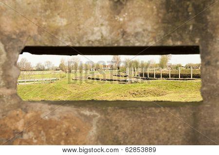 View From Bunker Pillbox Great World War 1 Flanders Belgium
