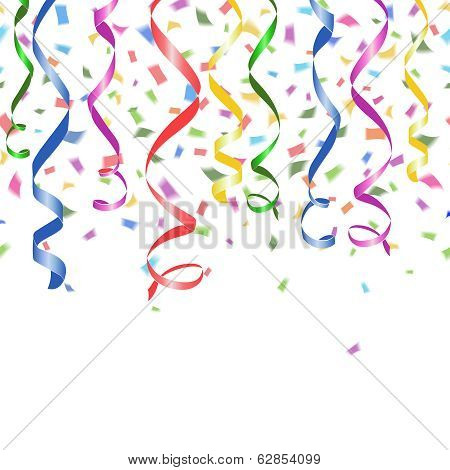 Colorful confetti and twirled party streamers
