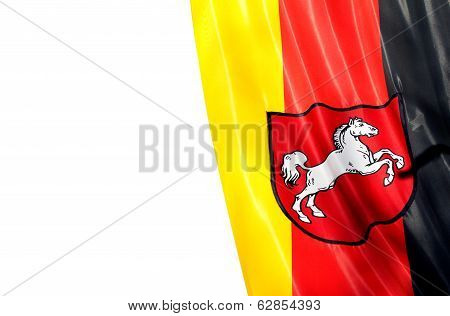 German Flag Of Lower Saxony On A White Background