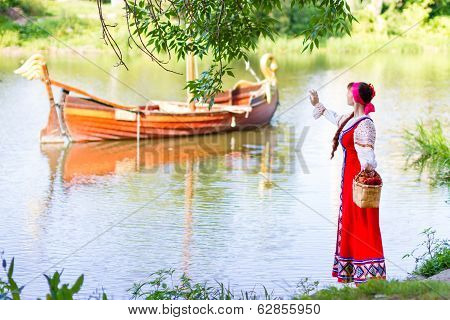 Woman in dress suit stylized Ukrainian folk