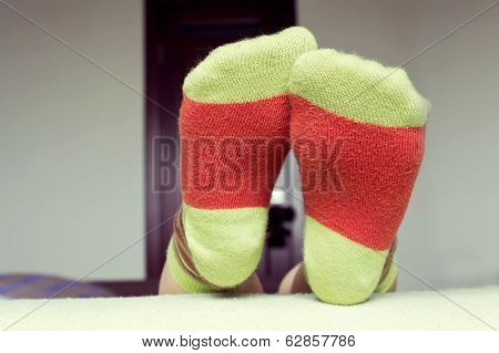 Closeup Of Socks On His Feet