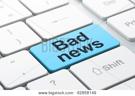 News concept: Bad News on computer keyboard background