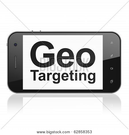Finance concept: Geo Targeting on smartphone
