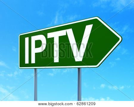 Web design concept: IPTV on road sign background