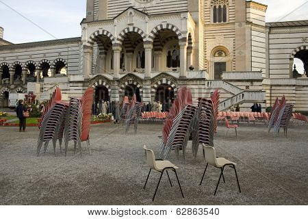 Plastic Chairs, Monumental Cemetary In Milan