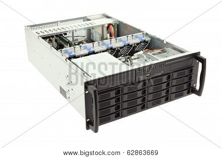Open Storage Server On White Background