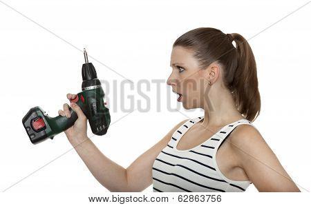 Young Craftswoman Shocked Of A Power Drill