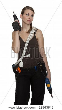 Young Craftswoman With Two Power Drills In Front Of White Background