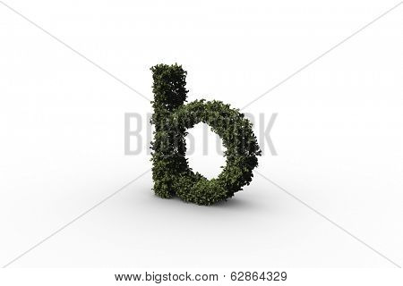 Lower case letter b made of leaves on white background