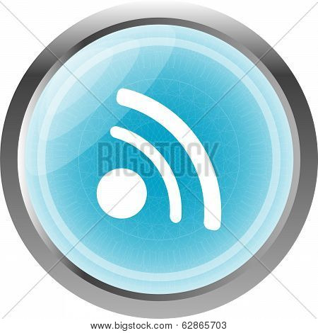 Glossy Web Button With Rss Feed Sign Isolated On White
