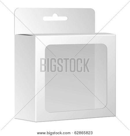 Blank White Product Package Box With Window