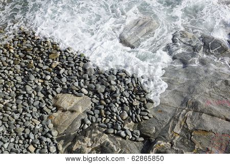 wild landscape with sea and rocks