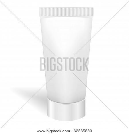 Blank White Tube for Cream or Gel. Tooth Paste Packaging