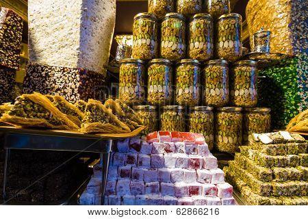 Turkish Delight On Sale At Kapalicarsi, Istanbul, Turkey