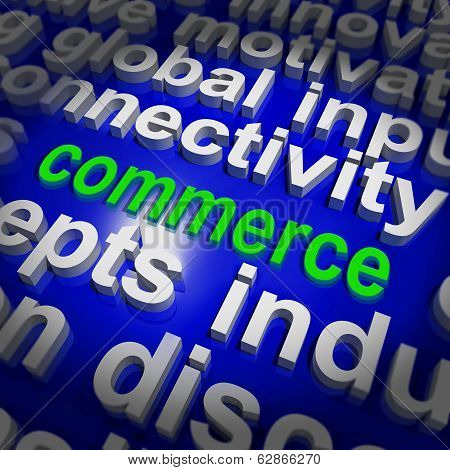 Commerce Word Cloud Shows Commercial Activities