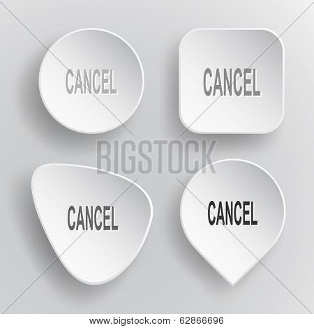 Cancel. White flat vector buttons on gray background.