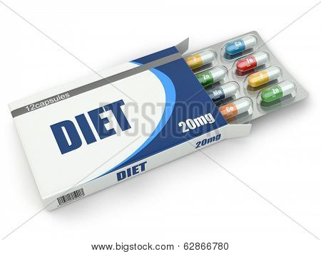 Diet concept. Vitamin pills in box. 3d