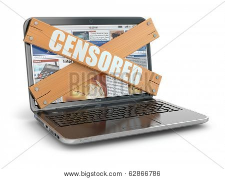 Concept of censure. Boarded up laptop, 3d