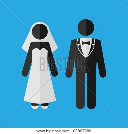 Wedding Couple. Marriage Invitation Template. Vector