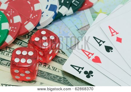 Poker, royal flush, dice and gambling chips