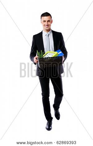 You are fired! Happy businessman hold box with personal belongings isolated on white background