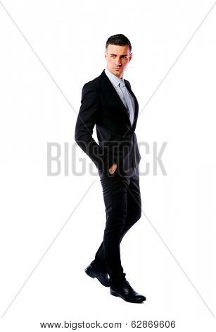 Full-length portrait of a confident businessman isolated on a white background