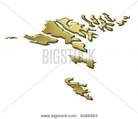 Faroe Islands 3D Golden Map
