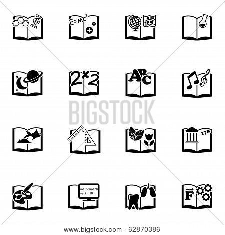 Vector black schoolbooks icon set